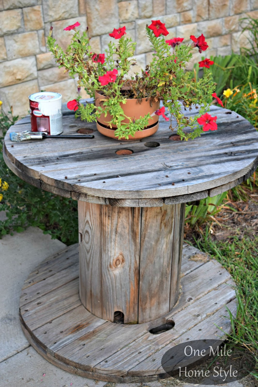 White washed outdoor spool table for Outdoor tables made out of wooden wire spools