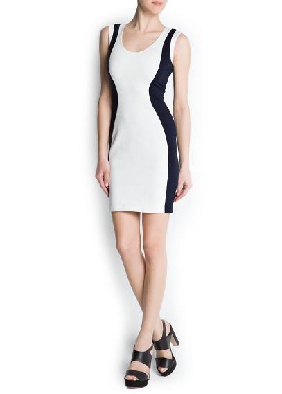Arkadan gizli fermuarlı, yuvarlak yakalı kolsuz, iki renkli bodycone elbise.