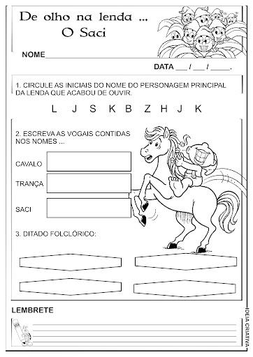 Atividade Alfabetização Folclore Lenda do Saci