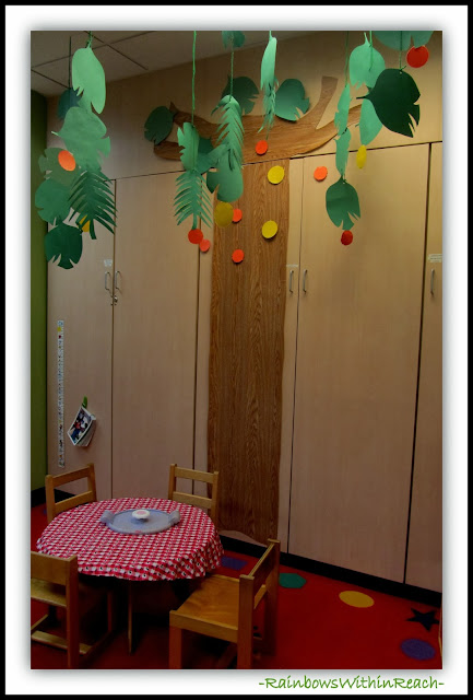 Chicka Chicka Boom Boom Tree in Preschool Classroom via RainbowsWithinReach