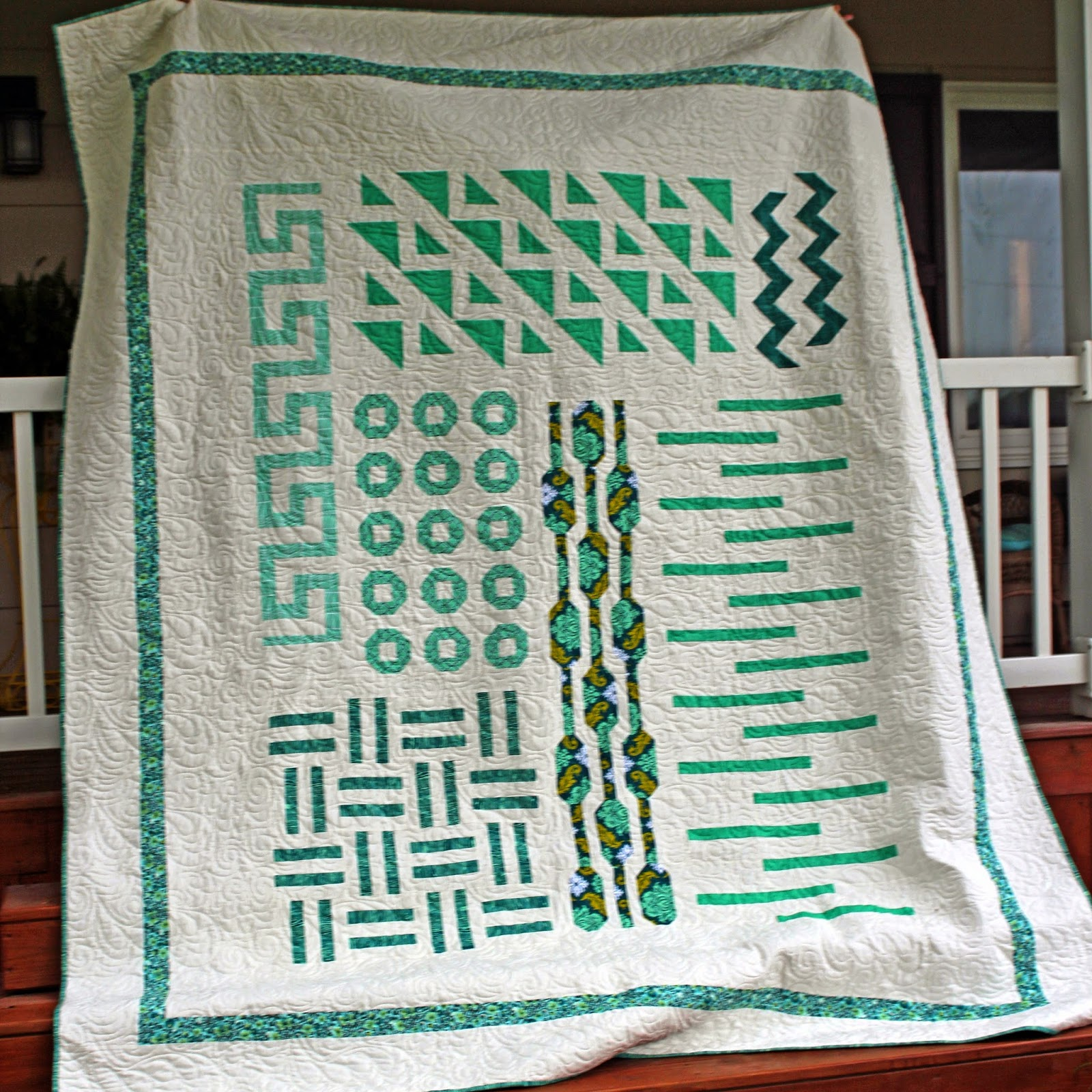 Girls in the Garden - Graphic Mixx quilt using shades of green