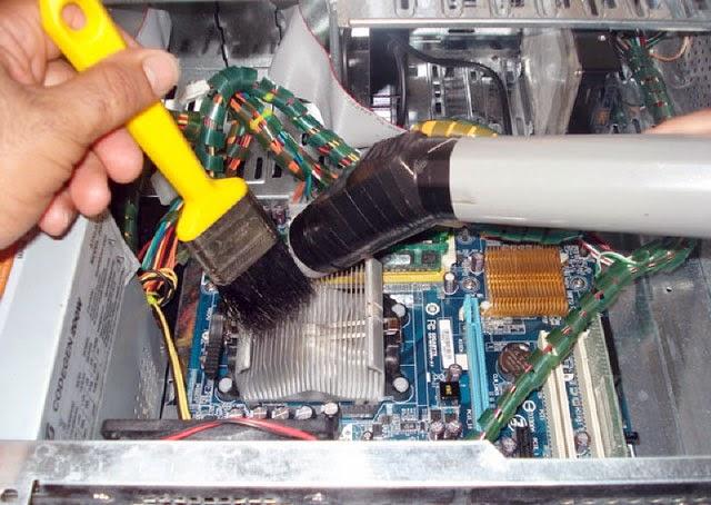 fırça ve süpürge ile fan temizlemek