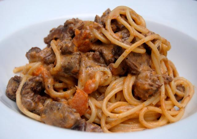 Espaguetis con Ragut de Jabalí