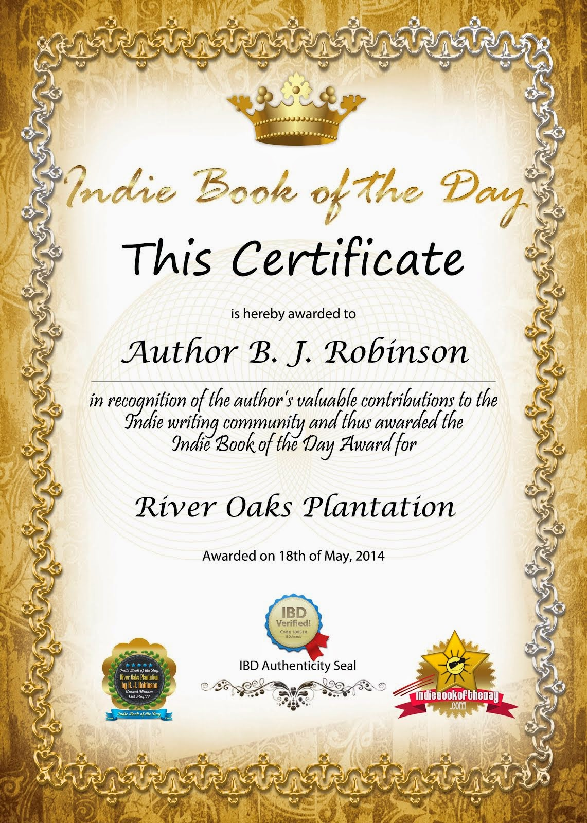River Oaks Plantation Indie Award