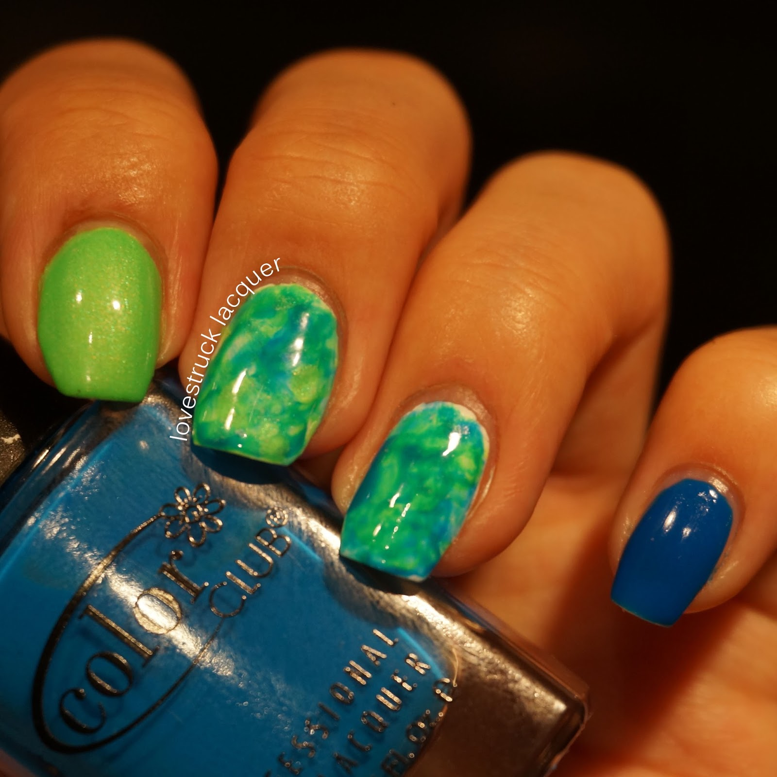 Lovestruck Lacquer: Neon green and blue watercolor nails