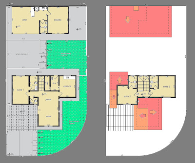 A leitura dos pavimentos térreo e superior indica alinhamento das instalações hidráulicas, um fator considerável de economia na obra.