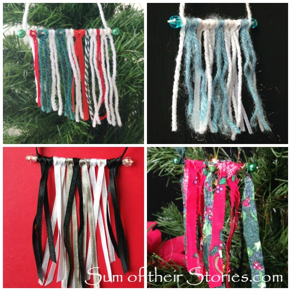 Mini yarn wall hanging style ornaments tutorial