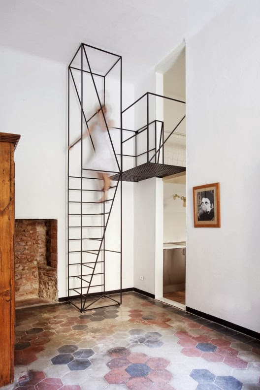metal stairs in house C in milan