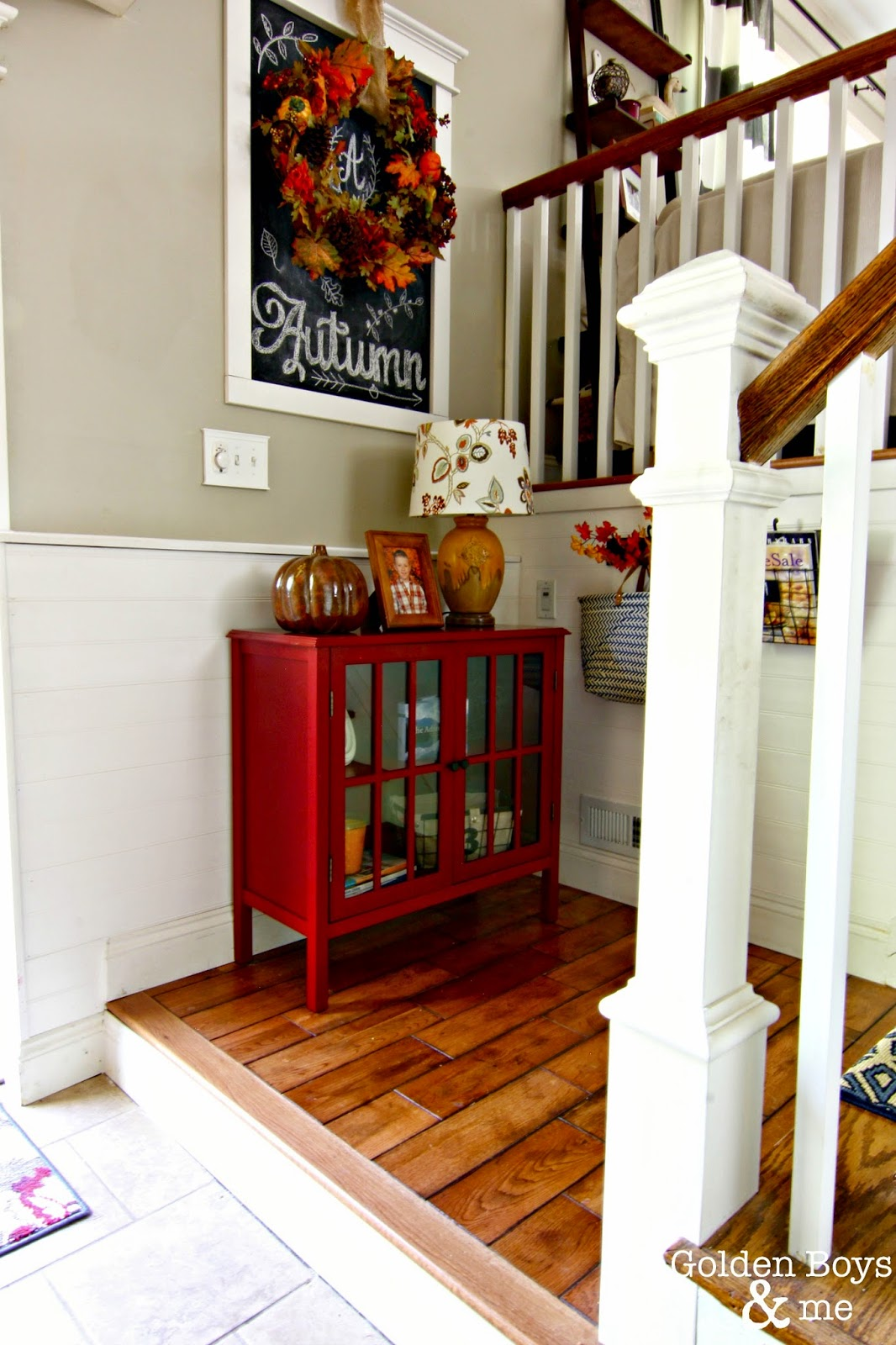 Fall chalk art in entryway with Target Threshold bookcase-www.goldenboysandme.com