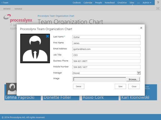 here are some screenshoots of the processlynx organization chart app - Organization Chart App