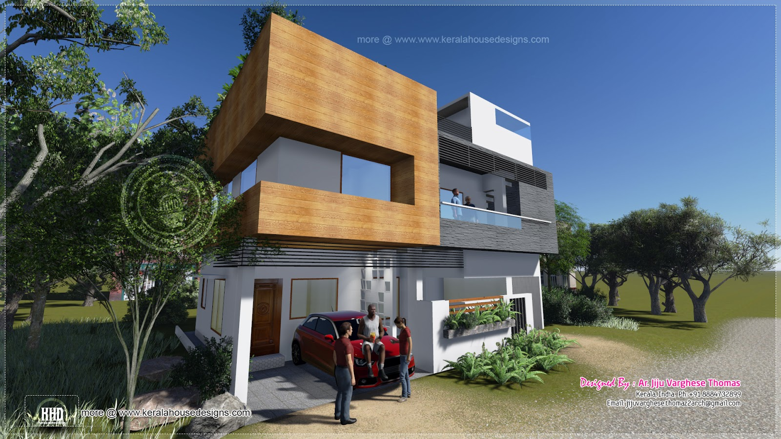 1600 square feet modern contemporary house kerala home for Modern square house plans