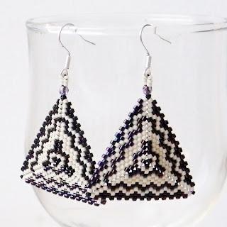 купить серьги из бисера,  бисерные треугольники, орнаменты, схема, Anabel, украшения ручной работы Украина