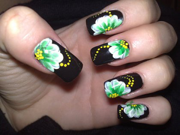 Black Nail Art with Green Flowers