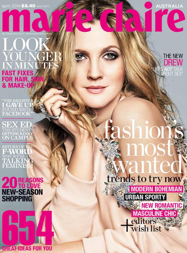 Drew Barrymore en portada de la revista Marie Claire Australia abril 2014