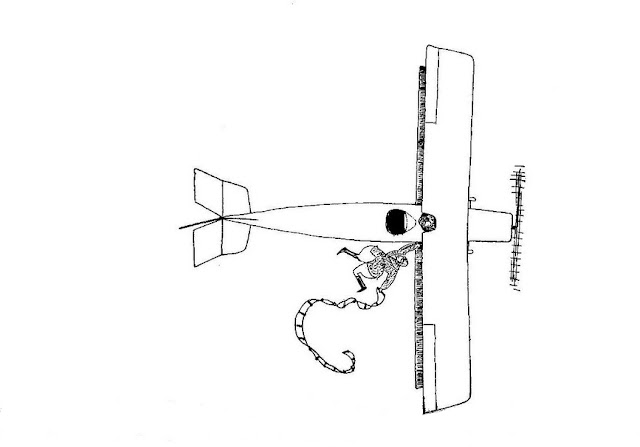 William Faulkner, Drawing of an aviator hanging to an airplane by one hand:  The Scream May 1925 vol. I no 5 p. 12