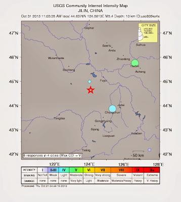 Epicentro sismo 5,4 grados en China, el 31 de Octubre 2013
