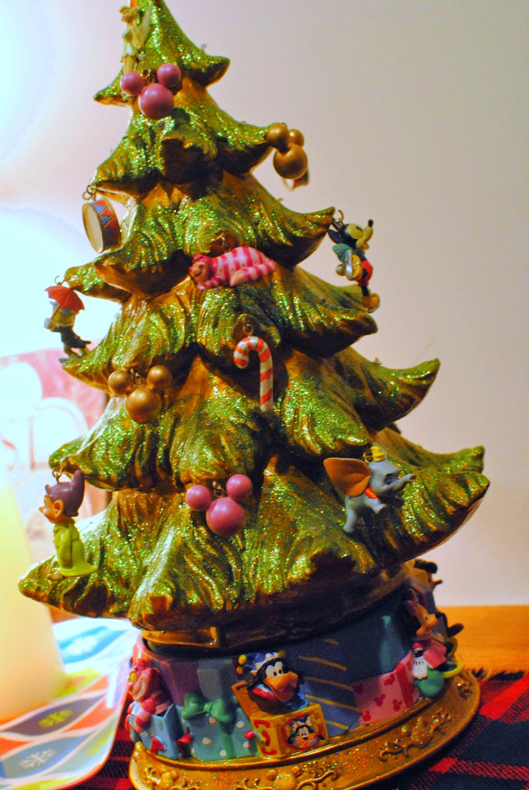 Disney tree ornaments - We Also Got This Christmas Tree From Disney World Years Ago I Love The Tiny Ornaments On It It Reminds Me Of Those Old Fashion Christmas Trees With The