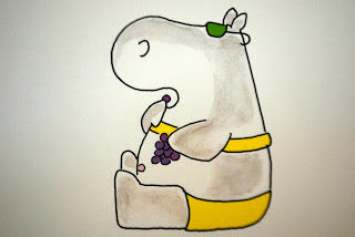Cute Hippo in Yellow Bikini Eating Grapes from Sandra Boynton's Belly Button Book