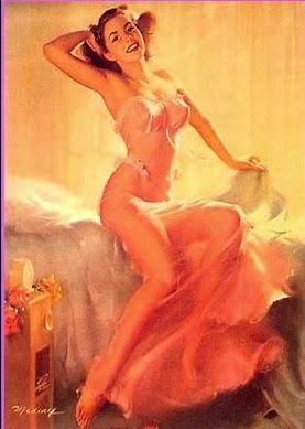 Sexy pin up girl in lingerie, femma fatale retro and vintage postcard