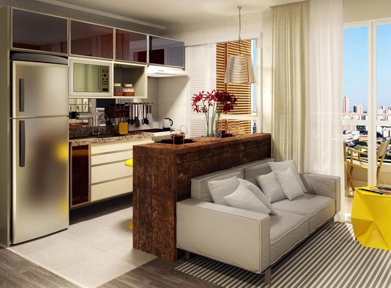 Cozinha integrada com a sala como decorar vida louca - Reformas pisos pequenos ...