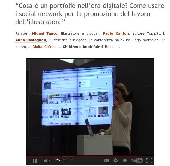 Apresentação de Anna Castagnoli durante a Conferencia sobre o Portfólio na era Digital.