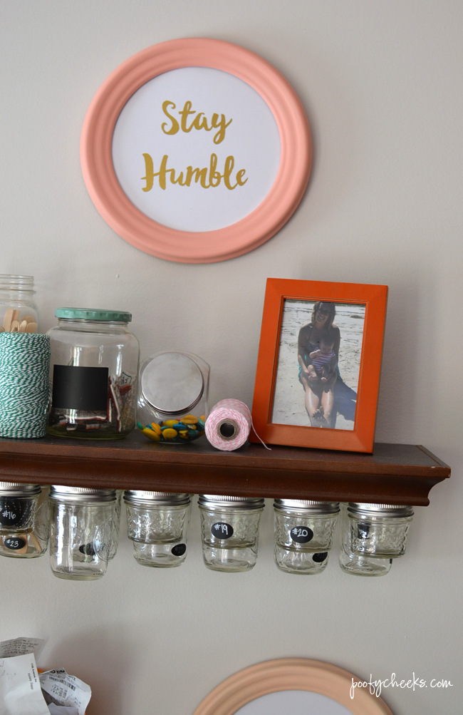 Neutral Office Craft Room Reveal with pops of color and pastels. http://www.poofycheeks.com