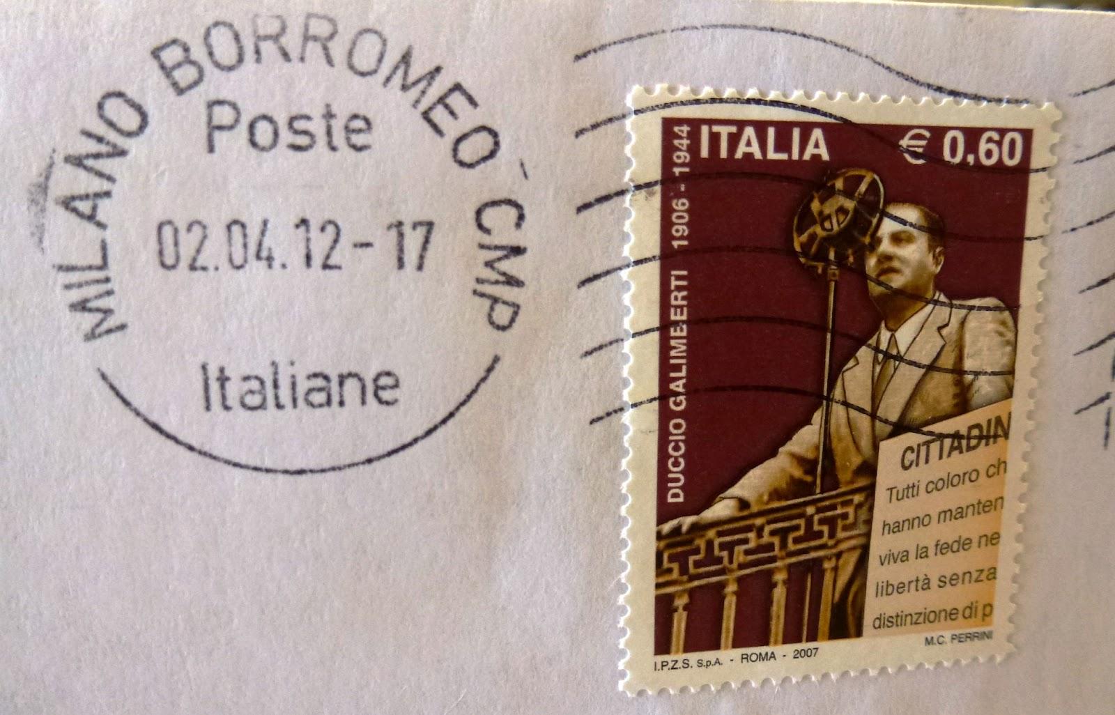 Duccio Galimberti partigiano francobollo e annullo