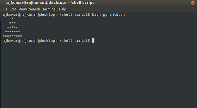 how to print star pyramid in bash script