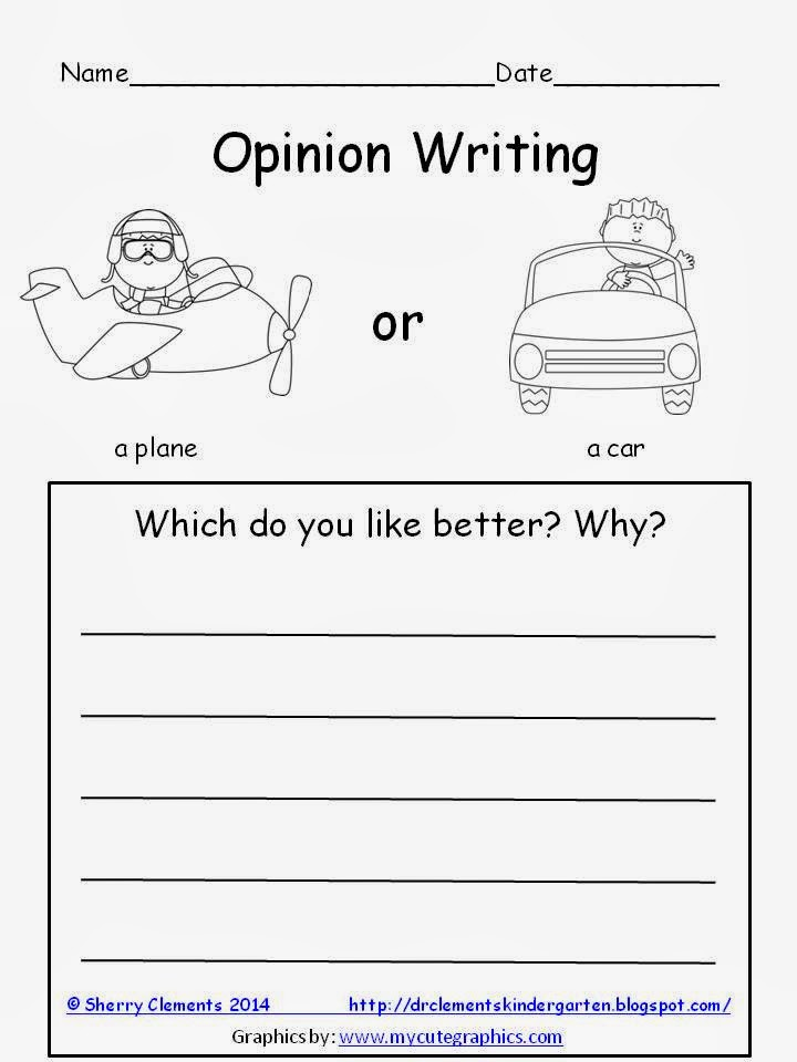 http://www.teacherspayteachers.com/Product/Opinion-Writing-Plane-or-Car-FREEBIE-1160601