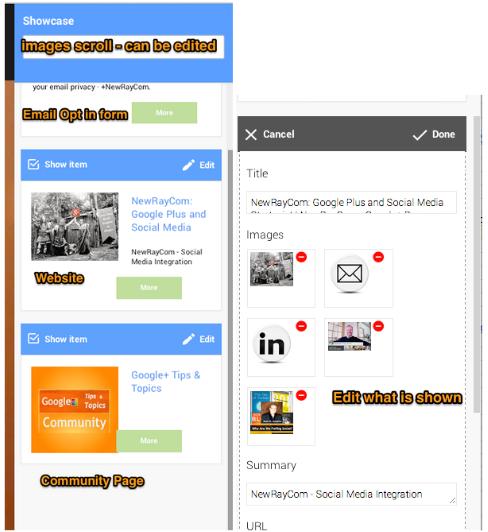 Google+ Showcase App links edit