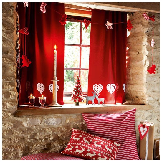 Celebrate Your Christmas With Red Decorative Themes, You Can Use Red  Decorative Curtains U0026 Pillow In Your Living Room With Some Craft U0026 Candles. Part 95