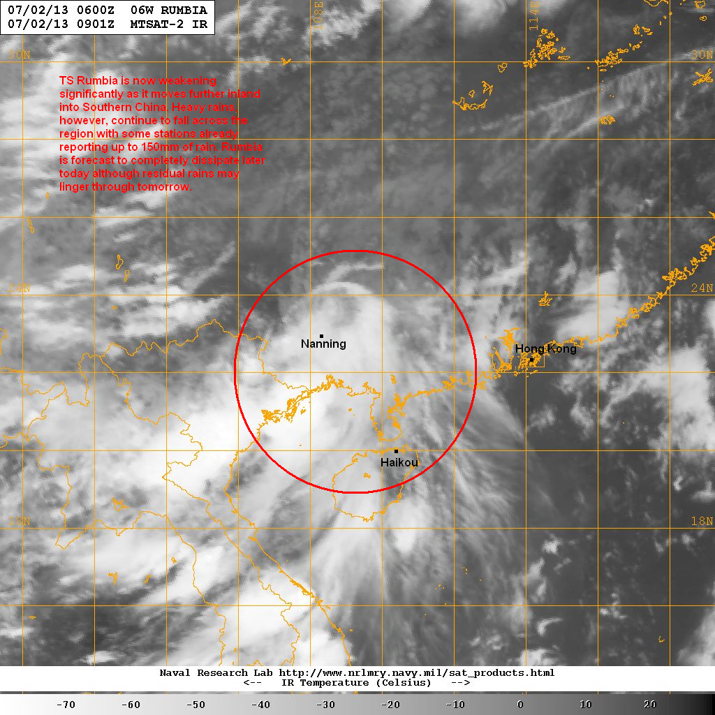 latest satellite image shows the convection associated with rumbia is weakening but is still expansive and continue to bring widespread rains across
