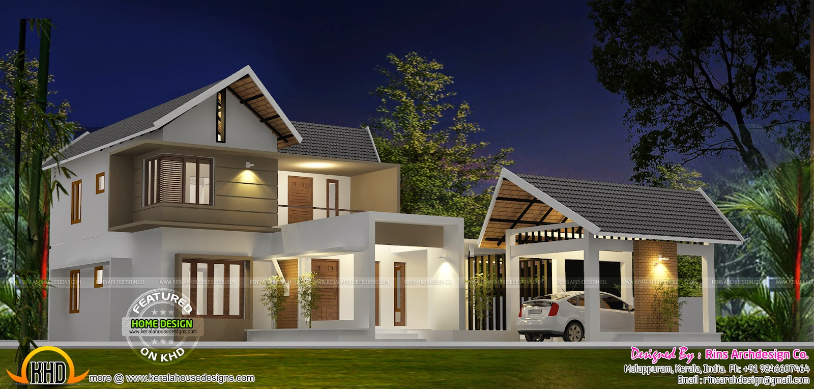 Separate garage house plan kerala home design and floor for Separate garage