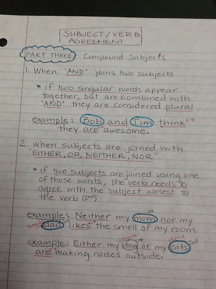 Mrs Johanns Class Subjectverb Agreement Compound Subjects