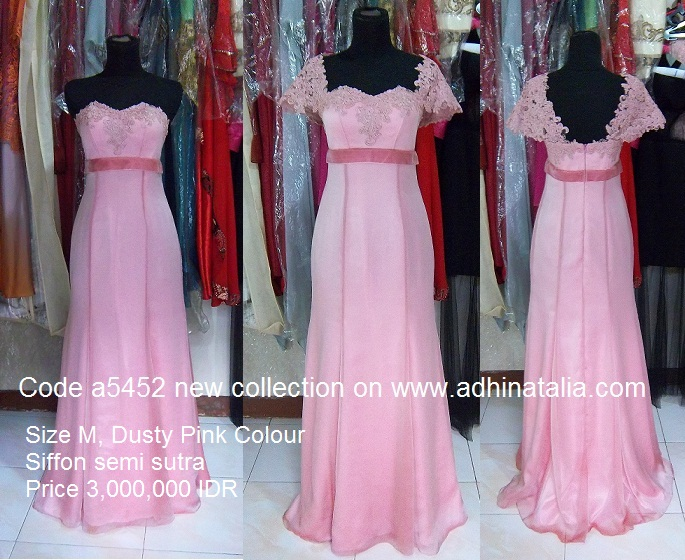 Baju Pesta Sifon Semi Sutra Dusty Pink