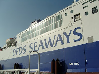 DFDS Seaways logo on side of the ferry