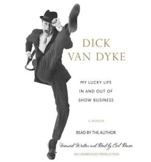 Dick Van Dyke in a suit tipping his cap and doing a leg kick on book cover.