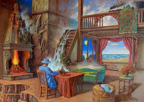 03-Blue-Traveller-Marcin-Kołpanowicz-Paintings-of-Creative-Surreal-Worlds-ready-to-Explore-www-designstack-co