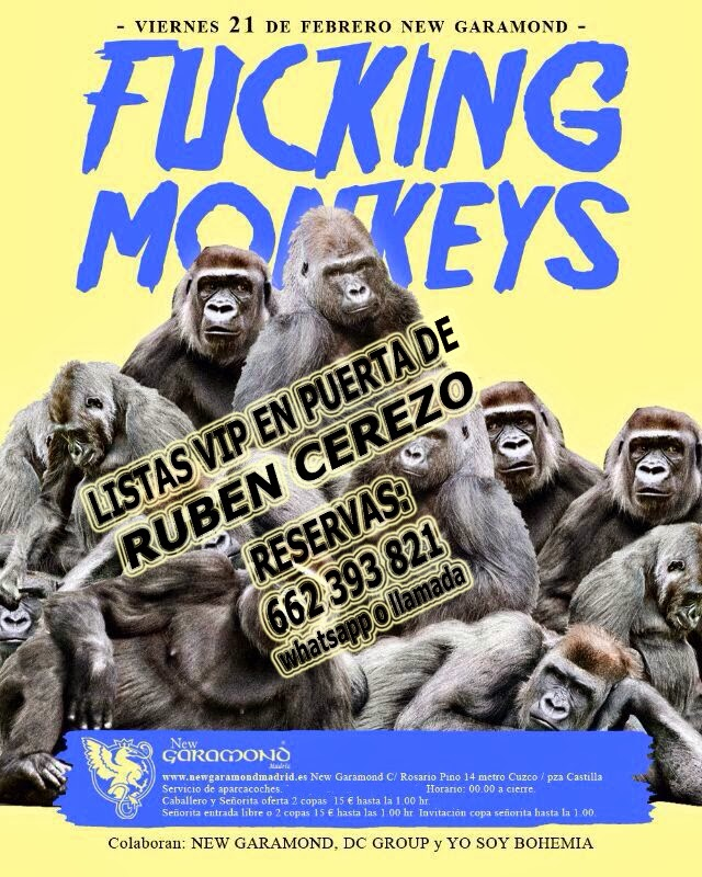 "LISTAS NEW GARAMOND VIERNES, 21 DE FEBREO:  YO SOY BOHEMIA - ""FUCKING MONKEYS"""