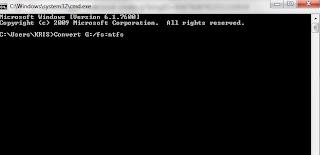 ketik Convert huruf drive:/fs:ntfs