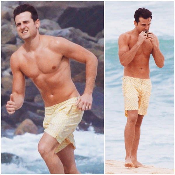 Jared Followill wears yellow Orlebar Brown lattice print Bulldog shorts in Rio de Janeiro Brazil
