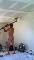 Guy Purcella, Mr Patch Drywall, sanding drywall nude with permission of customer