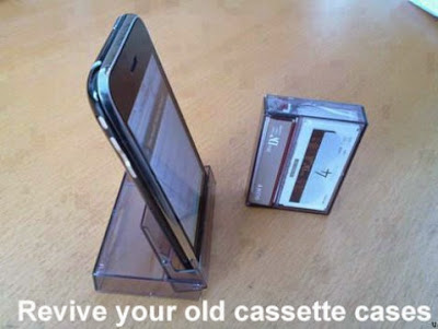 DIY cellphone stand from old cassette cover