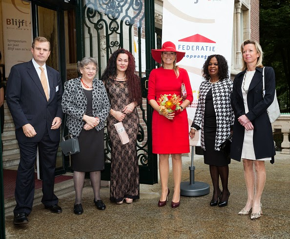 Mark Schneiders, Aleid van den Brink, Chantiej Jansen, Queen Maxima of The Netherlands, Elvira Sweet and Kajsa Ollongren attend a symposium, marking 40 years of the protection of women against domestic violenc