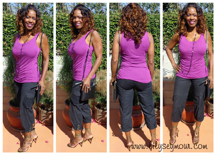 Fashion ~ Purple Top w/ Black Capri's