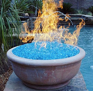 Fire Pit Glass Used in Gas Fire Feature - Image Copyright Unknown.
