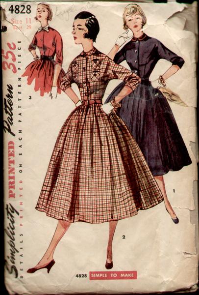 1950s dress shirt waist plaid sewing pattern Just Peachy, Darling