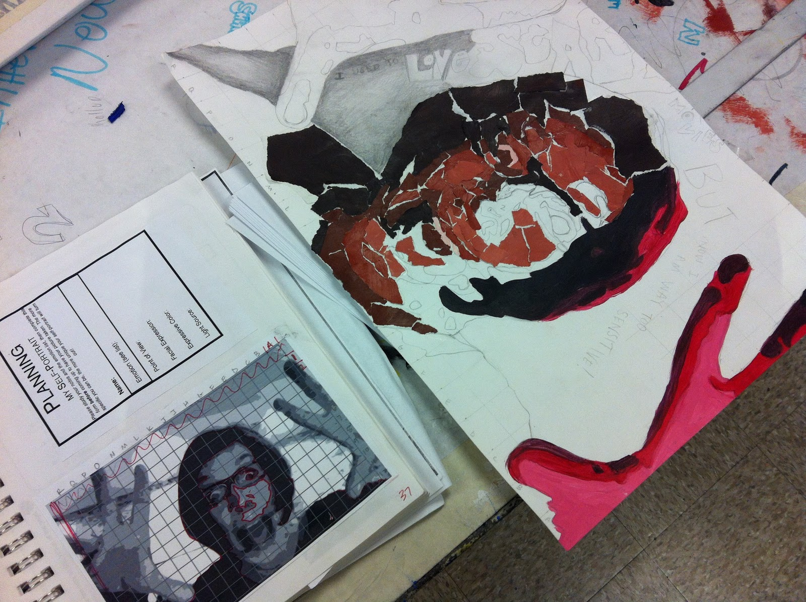 project art a day lesson value self portraits