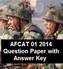 Question paper and key of AFCAT 1 2014 exam