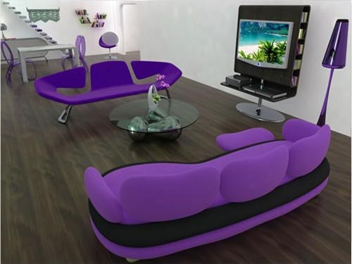 Modern Furniture Purple Sofa Interior Decorating